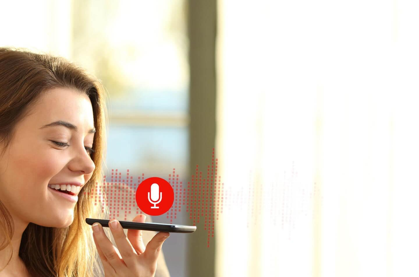 Girl talking to voice_recognition